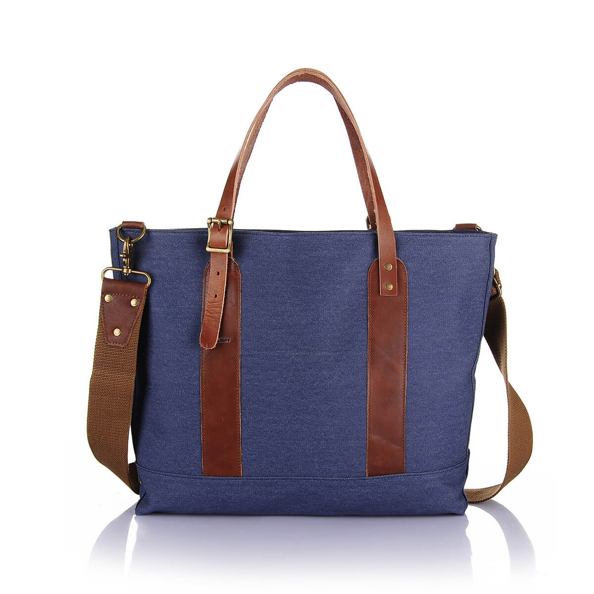 Men Washed Canvas Briefcase Buiness Bag With Genuine